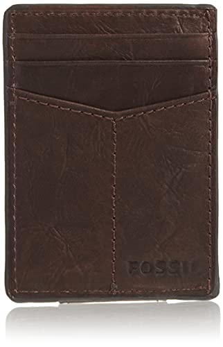 Fossil Men's Ingram Leather Minimalist Front Pocket Card Case Wallet, Brown