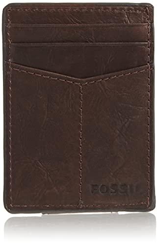 Fossil Men's Ingram Leather Minimalist Front Pocket Card Case Wallet, Brown