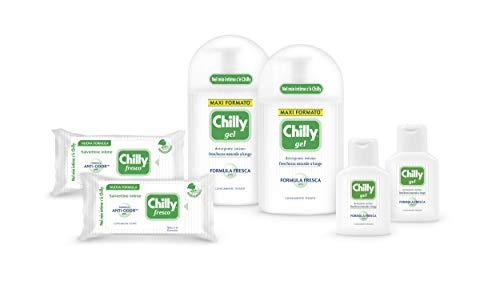 Chilly Kit Ama il tuo Intimo Con Detergente Intimo Gel e Salviette Igiene Intima, Detergente per L'Igiene Intima con Mentolo Naturale, Salviettine Ideali per Uso Quotidiano, pH 5, 6 Pezzi