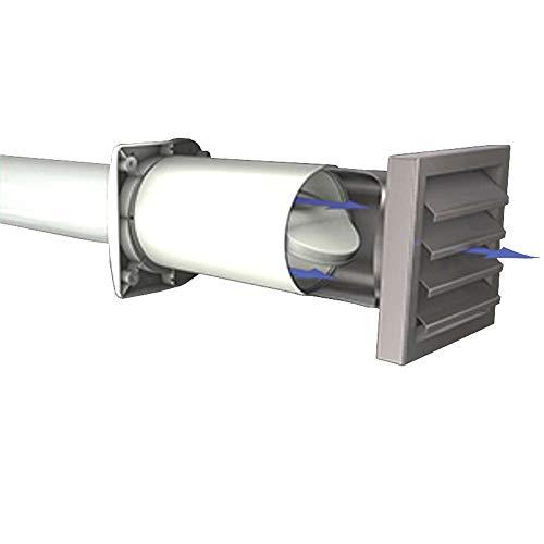 AEROBOY energiebesparende muurkist Ø 125/150 mm roestvrij staal/kunststof afzuigkap muurdoorvoer afzuigkap muur einddeel doorbraak luchtuitlaat ventilatie (roestvrij staal, 150 mm)