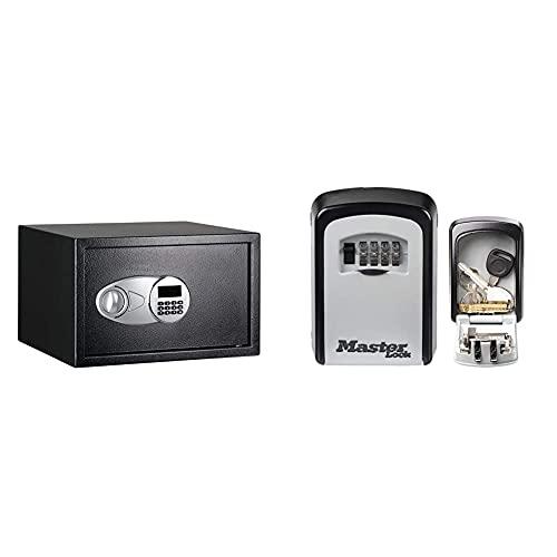 Amazon Basics Coffre-fort Noir 34L & MASTER LOCK Boite à clés sécurisée [Medium] [Fixation murale] - 5401EURD - Select Access Partagez vos clés en toute sécurité