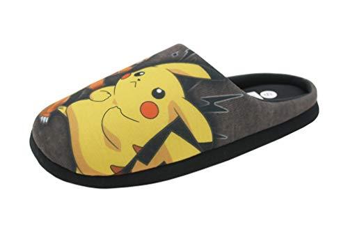 Pantofole da uomo, motivo Pokemon, calde, comode, per uso interno, regalo di Natale o compleanno, numero 40,5-47, (Colore: grigio e multicolore.), 45 46 EU