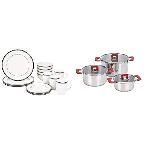 AmazonBasics - Vajilla para 4 personas (16 piezas), diseño de rayas + Juego de ollas de induccion de acero inoxidable