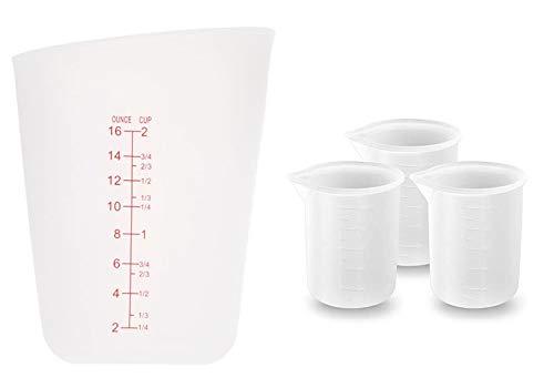 FuNiang Vaso medidor de Silicona 4 Piezas Vasos de Silicona de 100 ml ,500ml,para Resina, Vasos graduados de Laboratorio, Vasos mezcladores antiadherentes para Hornear en Laboratorio