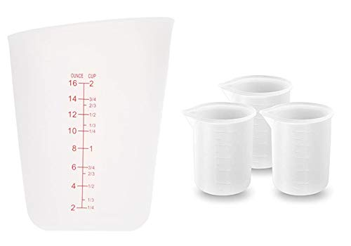 FuNiang Vaso medidor de Silicona 4 Piezas Vasos de Silicona de 100...