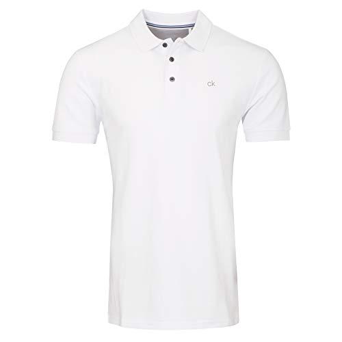 Calvin Klein Herren Midtown Radical Cotton Polo Golf-T-Shirt, weiß, Mittel