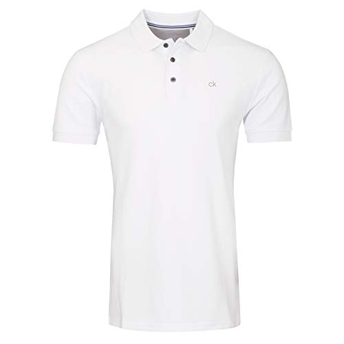Calvin Klein Herren Midtown Radical Cotton Polo Golf-T-Shirt, weiß, Mittel