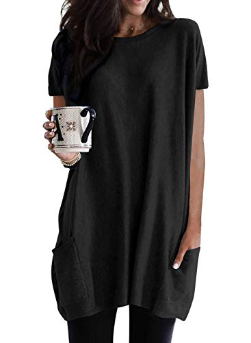 Dokotoo Womens Summer Casual Crewneck T-shirts Loose Fit Solid Color Short Sleeve Long Tunic Tops Oversized Shirts with Pockets for Women,US 8-10(M),Black