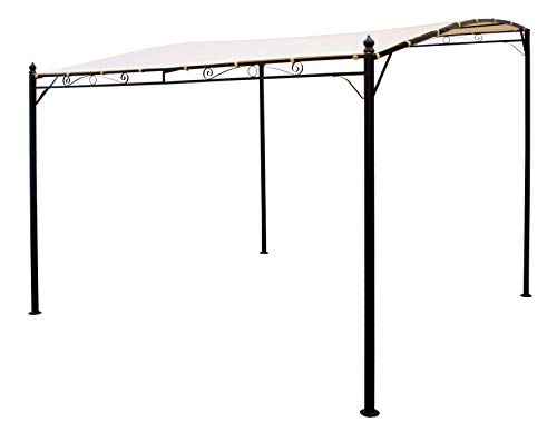 DEGAMO Anbaupavillon Terrassenpavillon Mantova-XL 300 x 300 cm, Stahlgestell schwarz pulverbeschichtet, Dachplane wasserdicht beschichtet ecrufarben