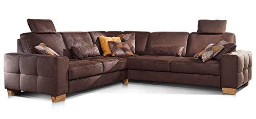 Cavadore Ecksofa Puccino mit Federkern, Schlaffunktion, verstellbaren Sitztiefen und 2 Kopfstützen / Couch gleichschenklig in L-Form im Landhausstil / 276...