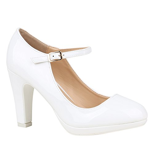 Damen Schuhe Pumps Mary Janes Veloursleder-Optik High Heels Blockabsatz 152431 Weiss Lack Lack 37 Flandell