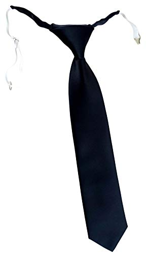 TigerTie Corbata infantil en un solo color, preatada con goma elástica., Negro , Talla única