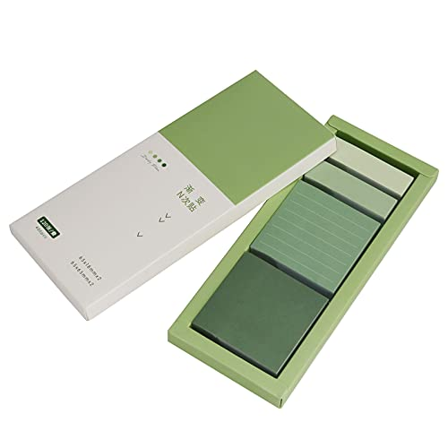 Green Sticky Notes Set, Koqye Lined Pastel Sticky Note Pads, Portable Blank Sticky Notes, Self-Stick Index Tabs Organizer for Planner, Journal, Calendar, 480 Sheets (Avocado Green)