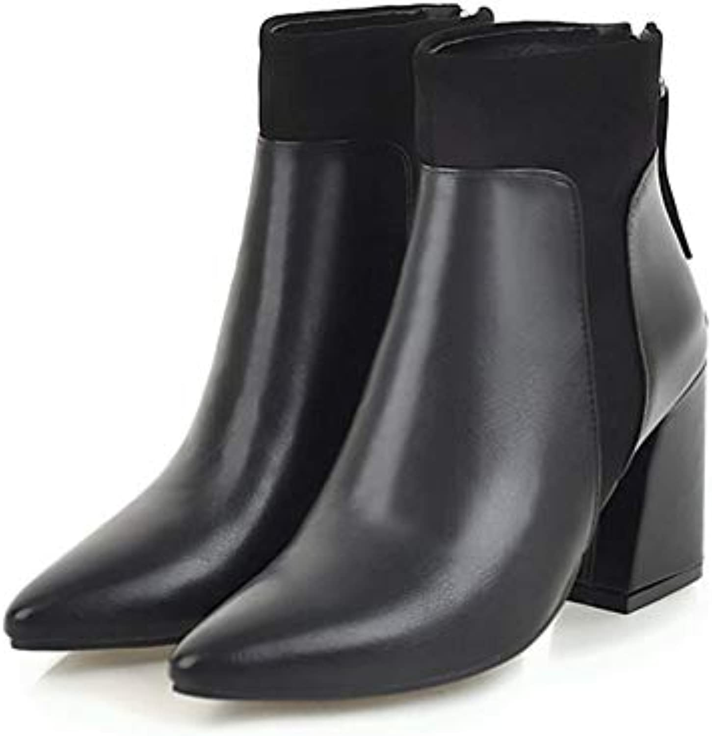 T-JULY Women 8.5cm High Heels Martins Retro Pointed Chelsea Ankle Boots Thick Block Heels Winter White Black shoes