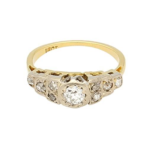 Anillo de lujo para mujer de oro amarillo de 18 quilates y platino de 0,50 quilates de diamante solitario y detalles (talla K)