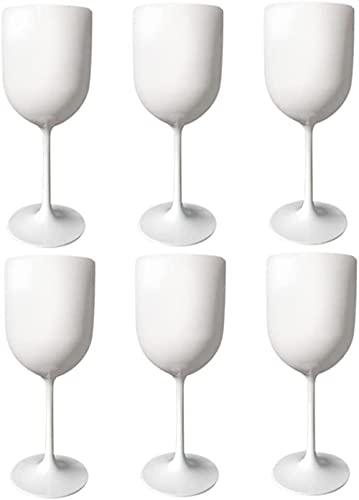 6 Copas De Vino De Plástico, Blancas Copas De Vino Irrompibles De Plástico De Primera Calidad, Copas De Vino Grandes De Plástico Reutilizables De 500 Ml (6 Piezas, Blanco)-White||6 PCS