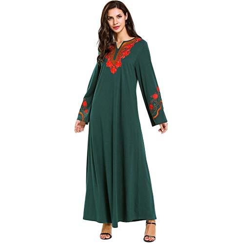 Musulmane Robe Longue Mode Féminine Élégant Broderie Florale e en Vrac Décontractée à Manches Longues de Soie Maxi Robe Abaya Caftan Dubai Festival du Ramadan Robe Islamique