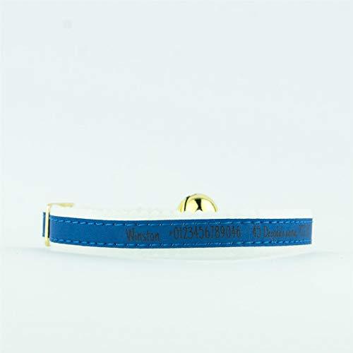 National Engraver Collar de Gato elástico Personalizado Gatito Kitty ID Reflectante Ancol Fieltro Grabado con Respaldo - Azul