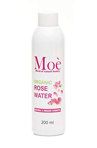 Kennenlern Angebot Moé - 200 ml Bio Rosenwasser, 100% Reines Naturprodukt ohne Alkohol und Konservierungsstoffe. Rose Water Organic Vegan Moe