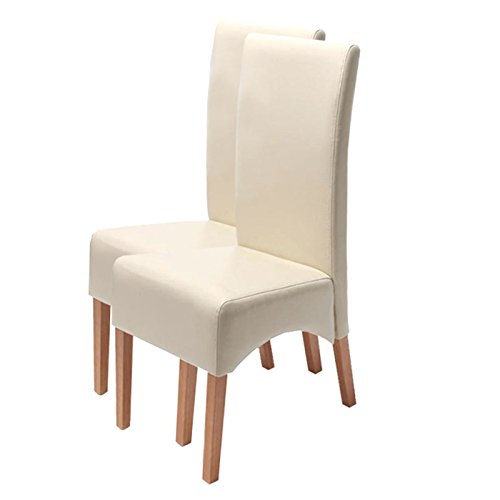 Mendler 2X Esszimmerstuhl Küchenstuhl Stuhl Latina, Leder - Creme, helle Beine