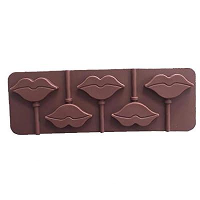 Lèvres rouges Lollipops gâteau moule moule en silicone pour Candy Chocolate ustensiles de cuisson moule 5 Cavity couleur aléatoire 1pc