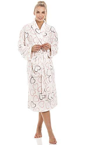 Camille Witte Supersoft Fleece Roze en Grijs Hart Print Sjaal Collar Badjas