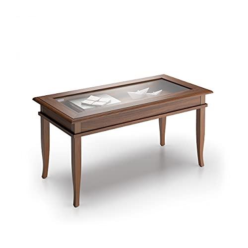 Mobili Fiver, Tavolino da Salotto, Classico, Noce, Nobilitato/Vetro, Made in Italy, Disponibile in Vari Colori