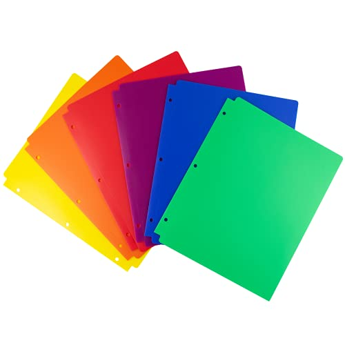 Dunwell Colored Folders for School - (12 Pack, Assorted Colors) 3 Hole Punched Plastic Folders with Pockets Fit 3 Ring Binder, 2 Pocket Folder with 3 Holes, School Folders for Boys, Girls