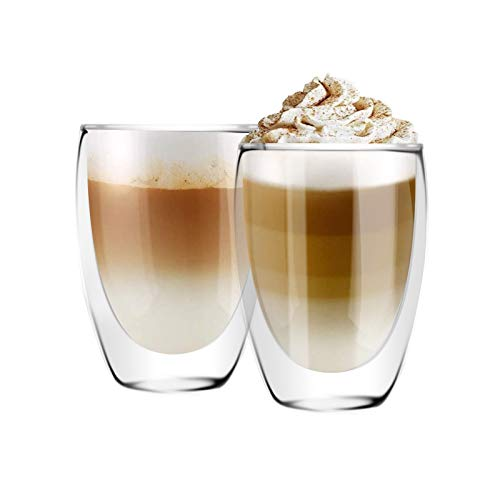 [6-Pack,12 Oz] DESIGN•MASTER - Premium Double Wall Insulated Glass, Coffee or Tea Glass Mugs, Thermo Insulated Glass, Perfect for Latte, Cappuccino, Americano and Tea