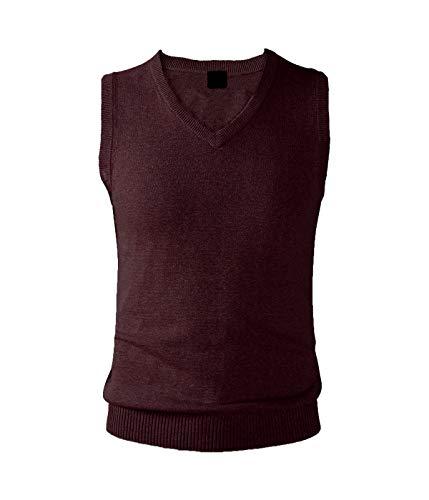AIEOE - Hombre Jersey sin Mangas para Otoño Invierno Chaleco de Punto Suave con Cuello en V para Entretiempo