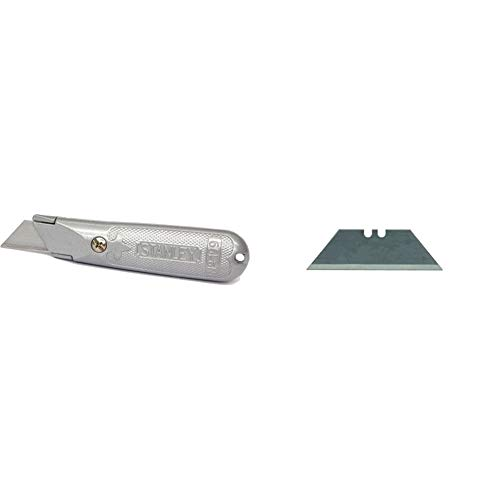 Stanley 1-10-199 Cuchillo metálico de hoja fija, 140 mm, Único + Cuchillo FatMax-10 Hojas 2-11-700