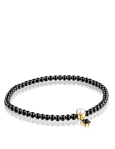 TOUS - Pulsera con Perla para Mujer, Color Negro, 16,5 cm