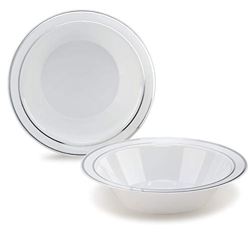 ' OCCASIONS ' 40 Bowls Pack, Heavyweight Disposable Wedding Party Plastic Bowls (14 oz Soup Bowl, White & Silver Rim)