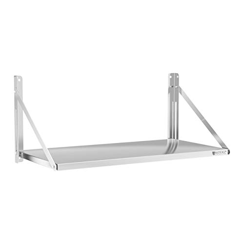 Royal Catering Estante De Pared Plegable Estantería para Cocina RC-BFWS10045 (100 x 45 cm, hasta 40 kg, Grosor de balda: 30 mm, Acero Inoxidable)