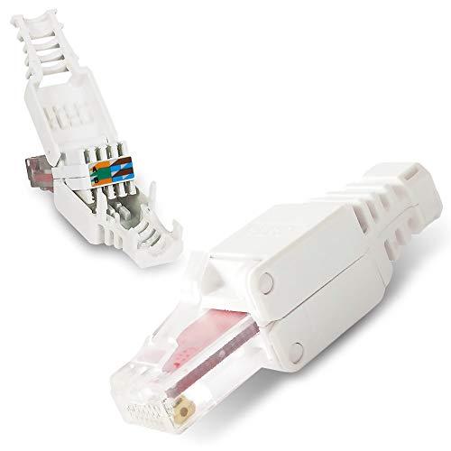 NAUC 10 Stück Netzwerkstecker werkzeuglos RJ45 CAT6 LAN UTP Kabel Stecker ohne Werkzeug werkzeugfrei CAT5 CAT7 Verlegekabel Patchkabel Netzwerkkabel Toolless Modular Plug Connector Crimpstecker