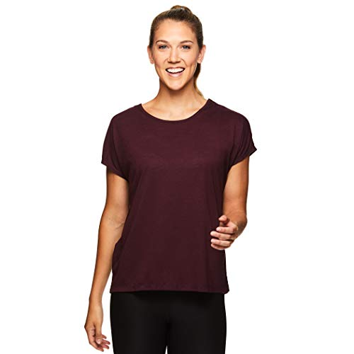 Gaiam Women's Open Back Yoga T Shirt - Relaxed Fit Short Sleeve Workout & Training Top - Flow Winetasting Red, Large