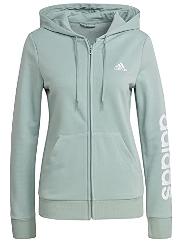 adidas GL0795 W Lin FT FZ HD Sweat Womens Hazy Green/White M