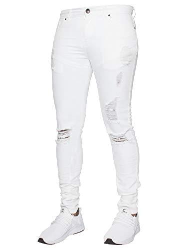 Enzo - Vaqueros para hombre, de corte recto, todos las tallas de cintura Blanco blanco 32W/32L