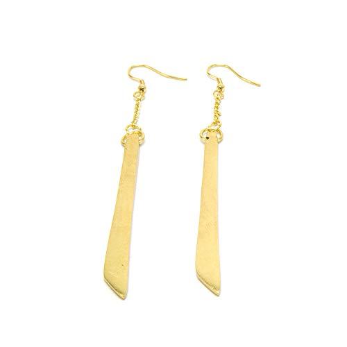VESTOPAZZO DD16018 - Pendientes de barra satinada de latón dorado