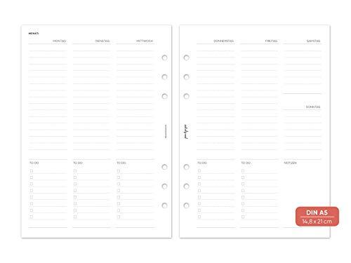pen & pages® undatierter Kalender Wochenübersicht mit Spalten - Din A5-6 Löcher - A5 Organizer, Kalendereinlagen, 1 Woche auf 2 Seiten, undatiert, 14,8 x 21 cm