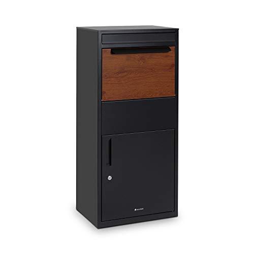 blumfeldt Oslo Paketpostkasten Paketbox Standbriefkasten, freistehend, Bodenverankerung, galvanisierter Stahl mit Pulverbeschichtung, Rundschloss mit 2 Schlüsseln, schwarz