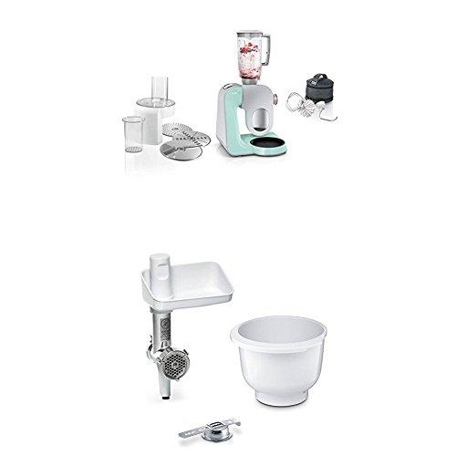 Bosch MUM58020 Küchenmaschine CreationLine, turquoise/silber + MUZ5BS1 Lifestyle Set BakingSensation mit Spritzgebäckvorsatz, Rührschüssel, Fleischwolf