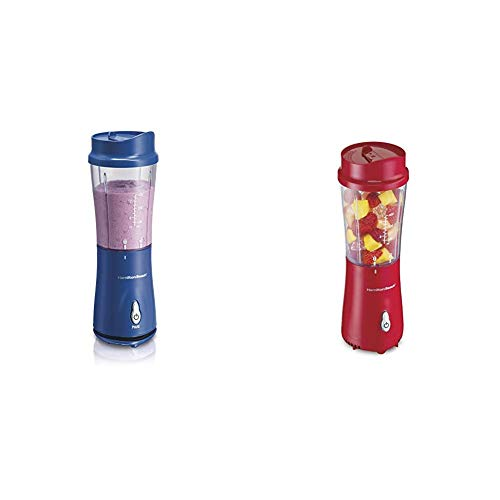 Hamilton Beach Personal Smoothie Blender With 14 Oz Travel Cup And Lid, Blue 51132 & Hamilton Beach Personal Blender for Shakes and Smoothies with 14oz Travel Cup and Lid, Red (51101RV)