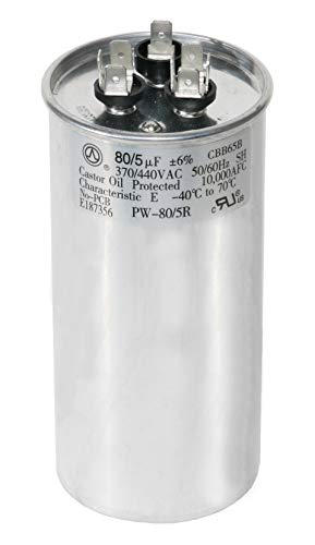 PowerWell 80+5 uf MFD 370 or 440 Volt Dual Run Round Capacitor TP-CAP-80/5/440R Condenser Straight Cool/Heat Pump Air Conditioner - Guaranteed to Last 5 Years