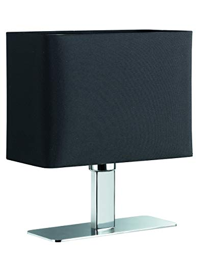 Reality Leuchten Tischlampe Tischleuchte / 1xE14 max. 40W ohne Leuchtmittel / 23 x 20 cm mit Schnurschalter, Schirm schwarz, Fuß chrom R50111002