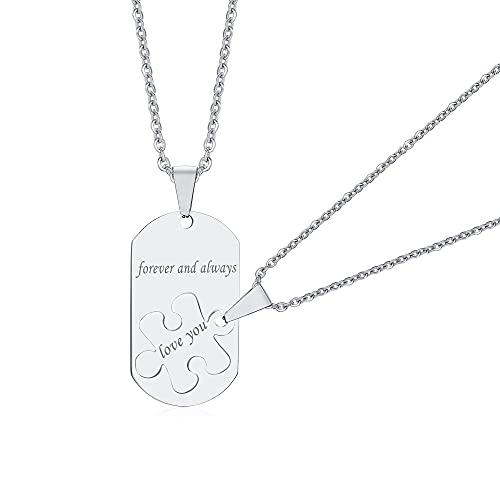 VNOX 2 colgantes con grabado láser para hombre y mujer, regalo de San Valentín para mujeres y hombres, con cadena de 60 cm