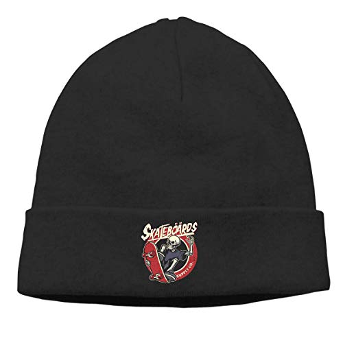 DHNKW Skull Playing Skateboarding Beanie Hat for Men and Women Soft Winter Warm Skull Cap
