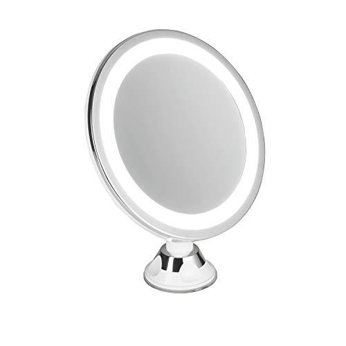 Adler AD2168 AD 2168-Espejo cosmético Redondo con Ventosa y 5 aumentos, luz LED, batería, Giratorio para baño, Espejo de Maquillaje, Montaje en Pared, sin Agujeros, 20 cm