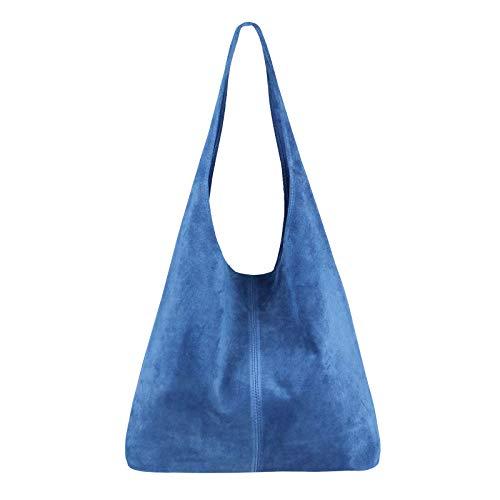 OBC Made IN Italy Damen Leder Tasche Handtasche Wildleder Shopper Schultertasche Hobo-Bag Henkeltasche Beuteltasche Velourleder (Jeansblau (Wildleder))