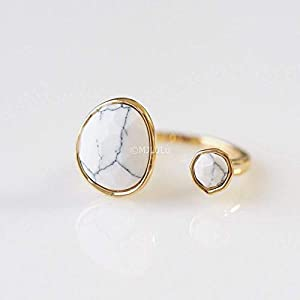 Double Stone White Howlite Open Circle Stackable Minimalist Ring